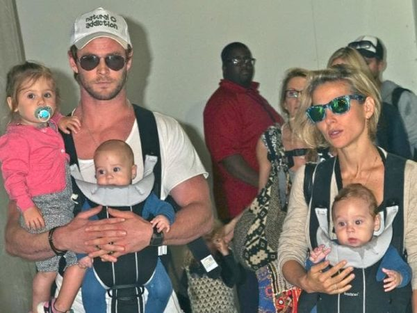 Chris Hemsworth and Elsa Pataky with kids